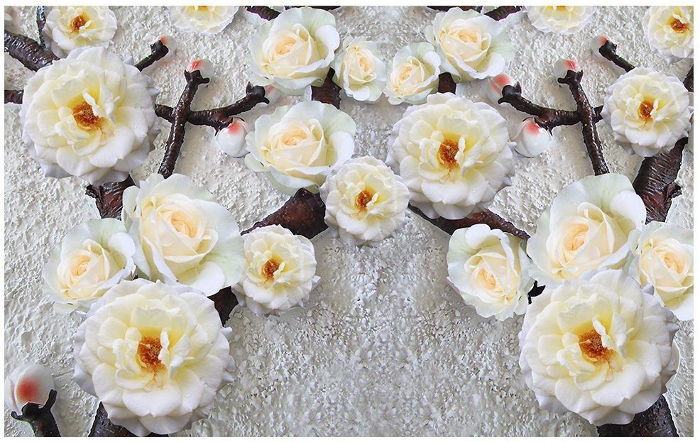ᗔБелая Роза объемный цветок обои на заказ 3D Настенные обои TV фон ... 38b26426506