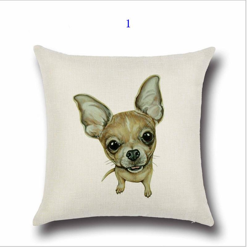 ᗑ45 cm * 45 cm animales perro patrón 2 algodón y almohada de lino ...