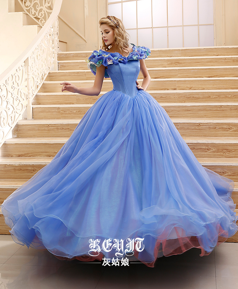 2015 Customized princess Cinderella Dress movie Cinderella