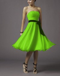 2015 LIME GREEN A LINE CHIFFON TEA LENGTH BRIDESMAID DRESS
