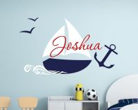 Nautical children name wall decal with anchor removable