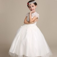 2016 Elegant Long Wedding Dress for Flower Girls Solid