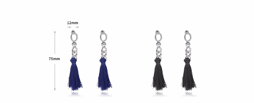 ᗑVintage Long Tassel Drop Earrings for Women Rhinestone Silver ... dbb9b03281a9