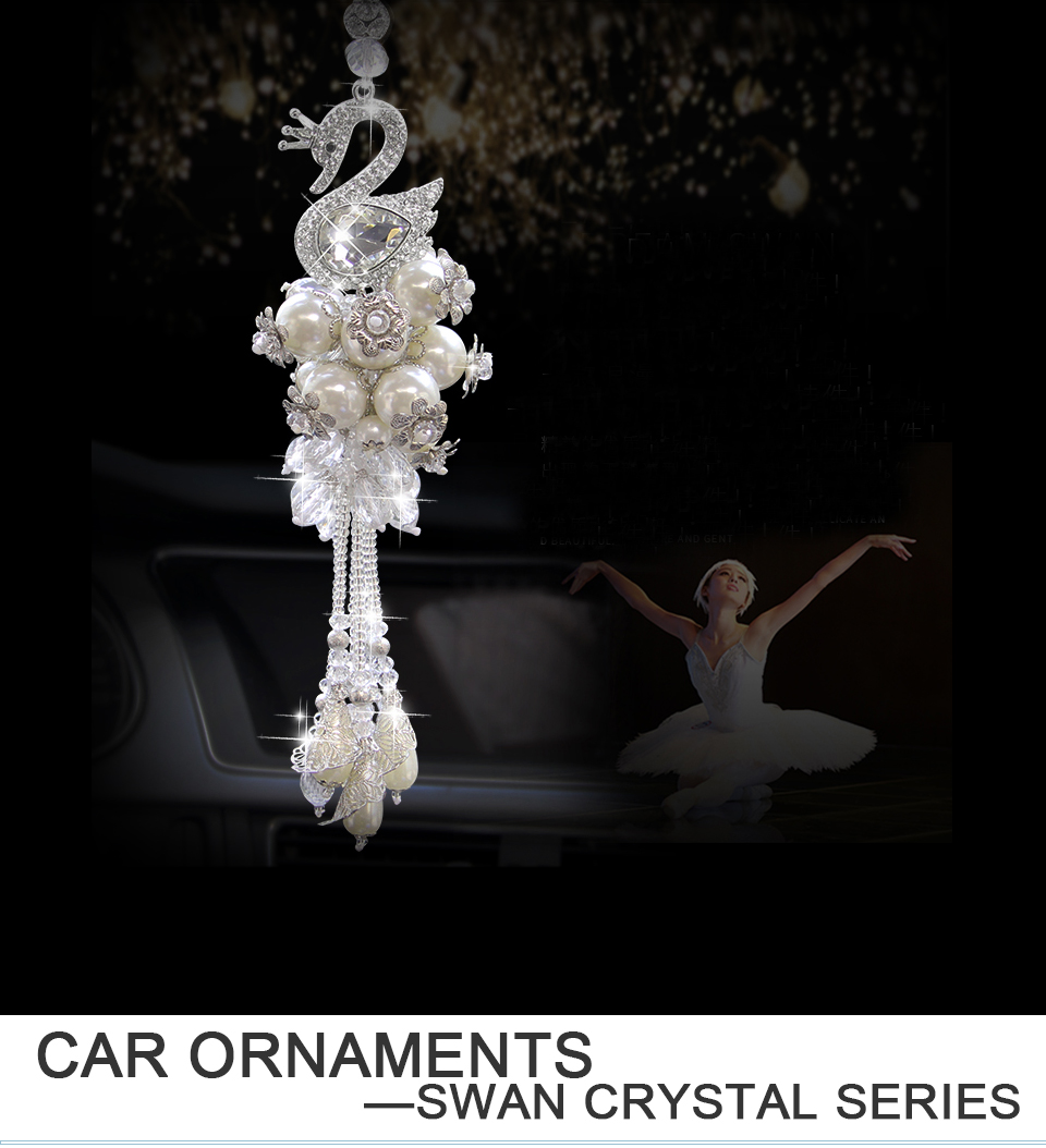 Car Decorations Rearview Mirror Interior Hanging Pendant Swan Crystal  Ornaments White Purple Car Styling Fashion Accessories
