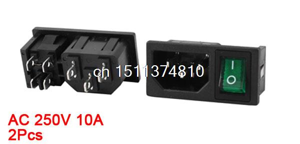 ⑧2 шт. IEC 320 C14 входной разъем ж предохранитель W зеленый свет ... 60605f7d6f4