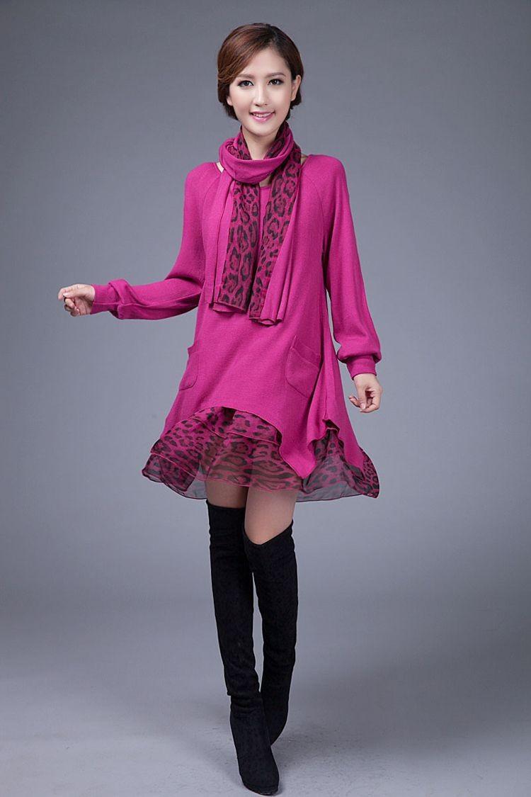 ③Tamaño más de moda Otoño Invierno Maternidad Vestidos flojo ...