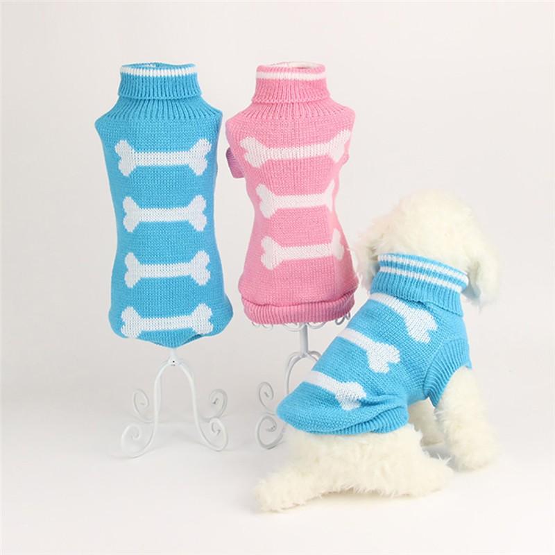 S/m/l hueso patrón perro suéter Otoño Invierno lindo cuello alto suéter ...