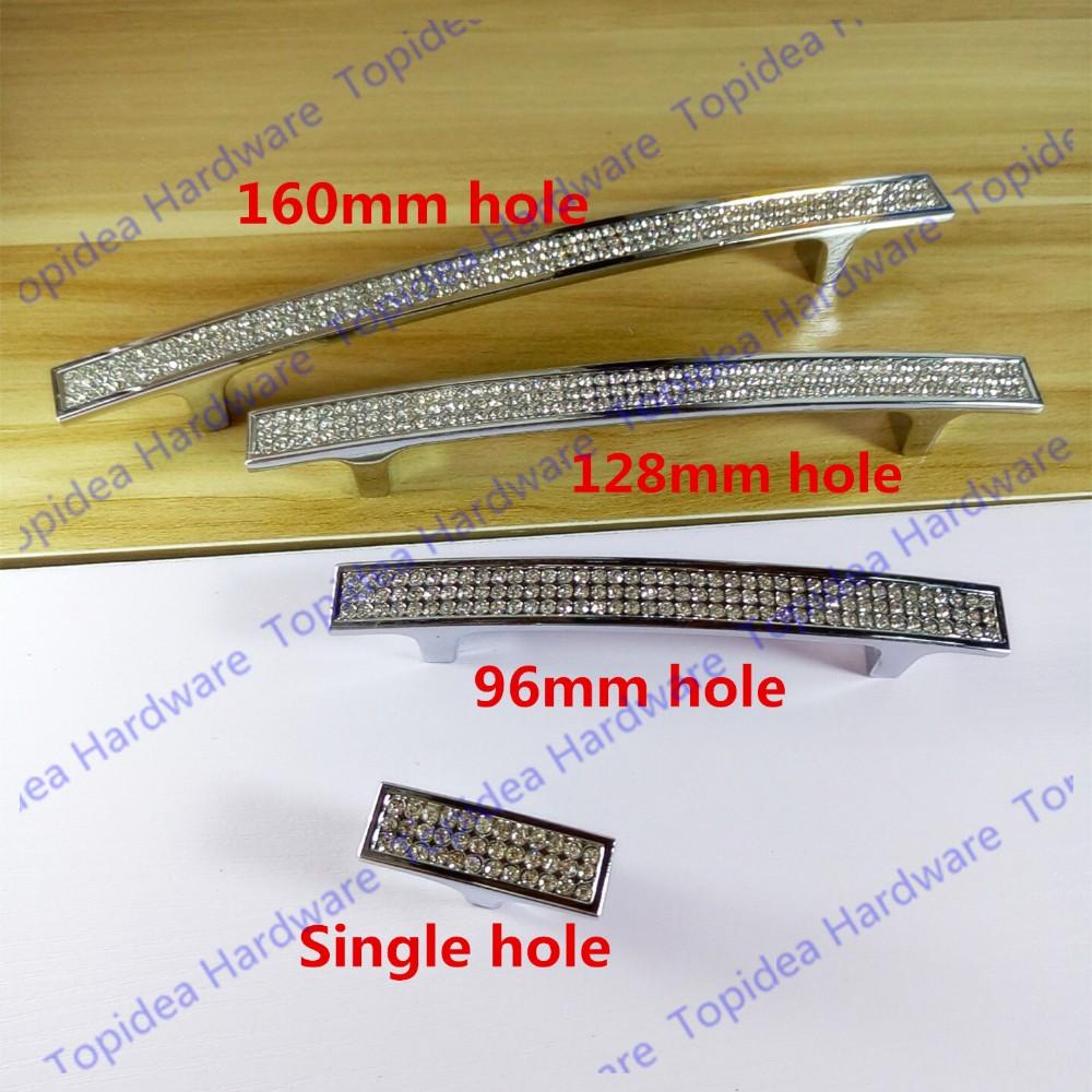 ④C:C: 96mm/128mm/160mm Crystal Furniture Dresser Drawer Silver ...