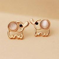 Women Men Gold Elephant Stud Earrings White Pink Rinestone ...