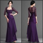 Purple Evening Dresses with Sleeves