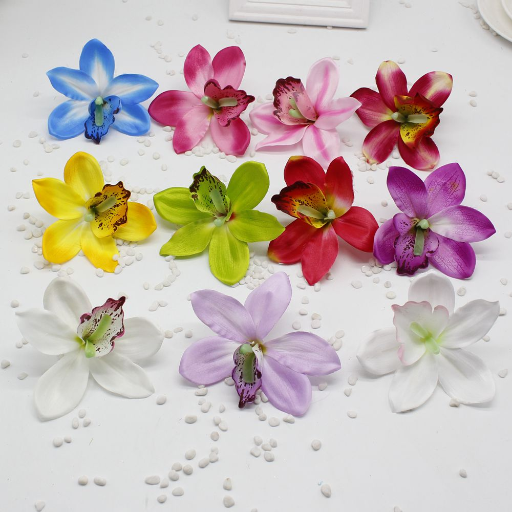 10pcs Cheap Silk Flower Butterfly Orchid Artificial Flower Head