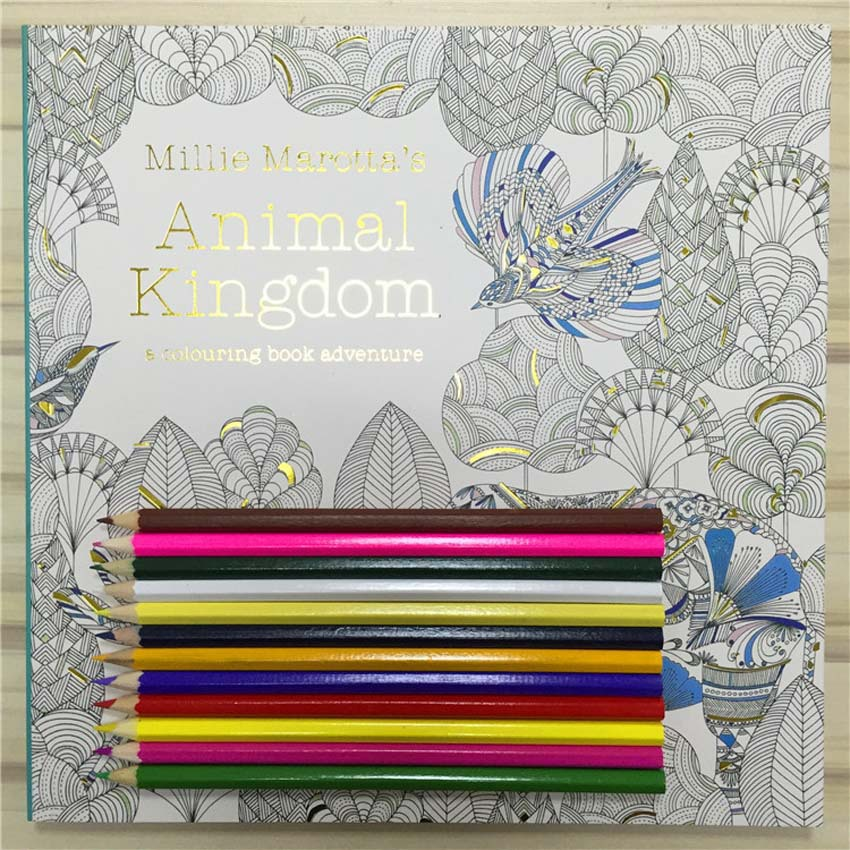 NEW Secret Garden 3 Animal Kingdom Coloring Book Adult Hand Drawn Pencils 12 Pcs Relieve Stress Graffiti Painting Drawing