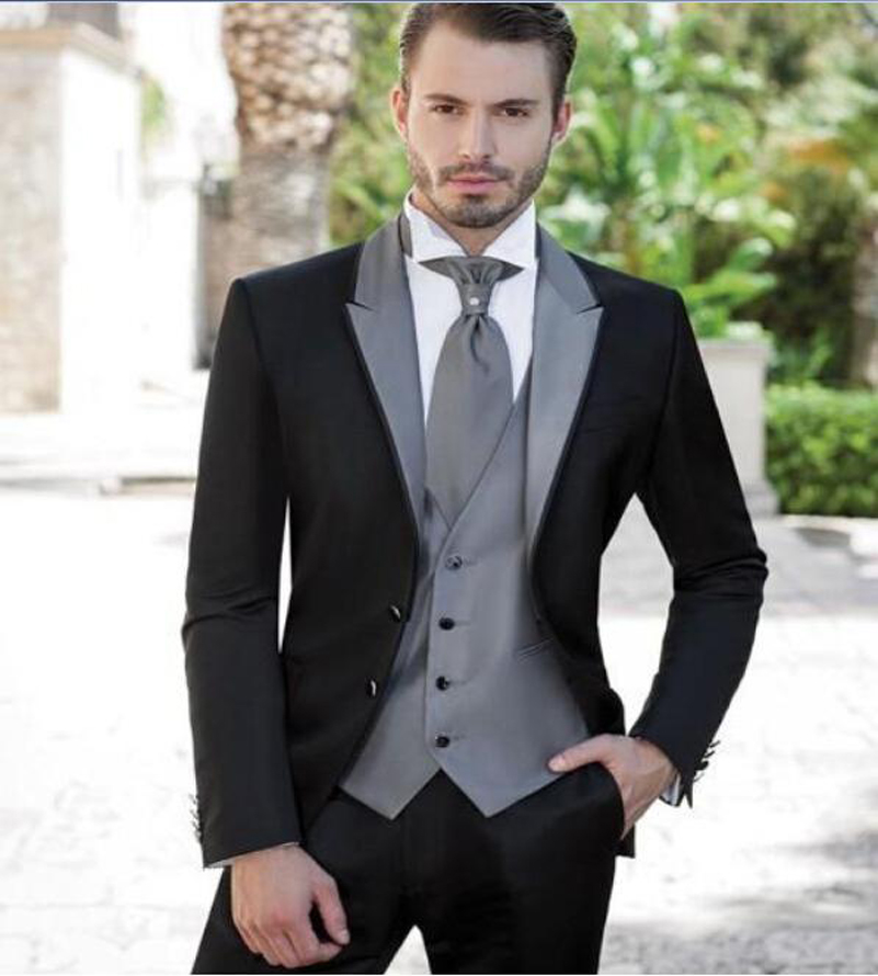 2017 Black Two buttons Slim Fit The Best Man suits For