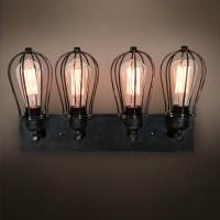antique bathroom black Wall Sconce lamp 4 light industrial ...