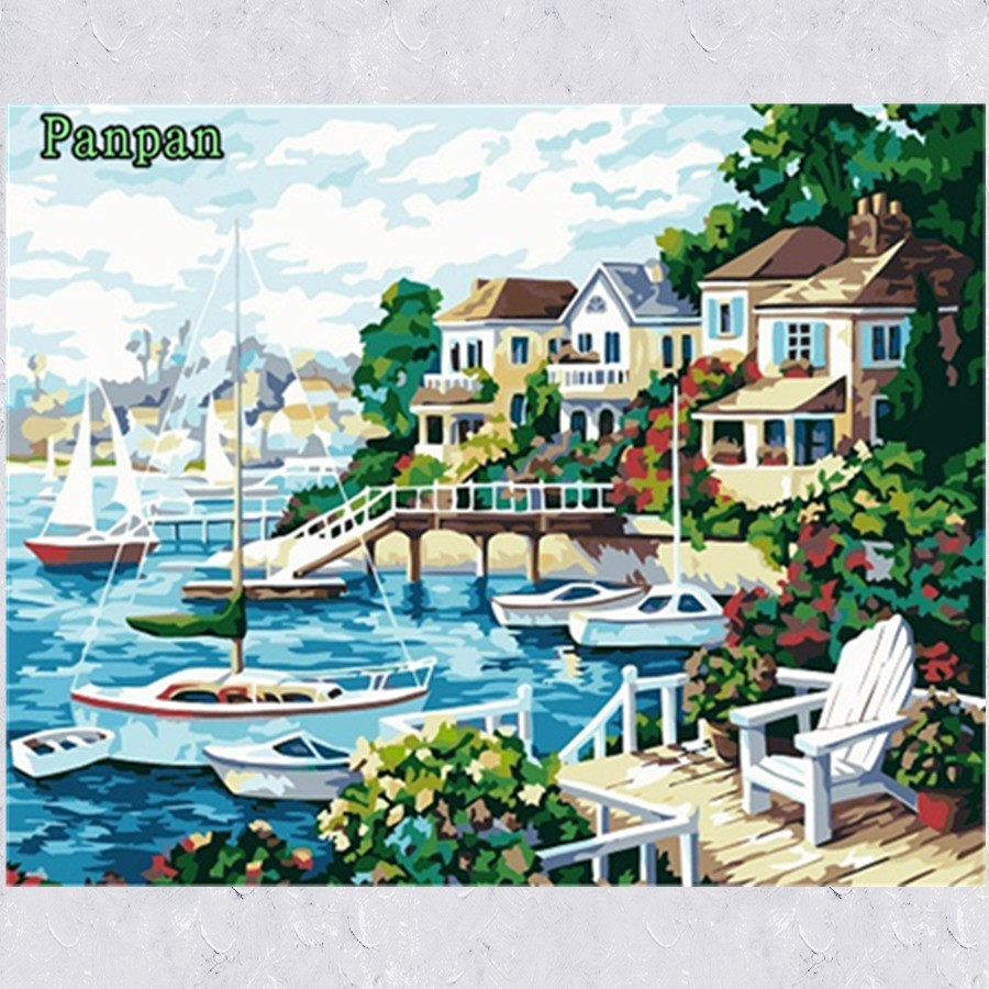 ᗚNew 4050cm 3D Unframed Pictures on wall DIY Oil Painting By ...