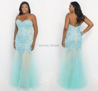 Ice Blue Mermaid Plus Size Prom Dresses With Appliques ...