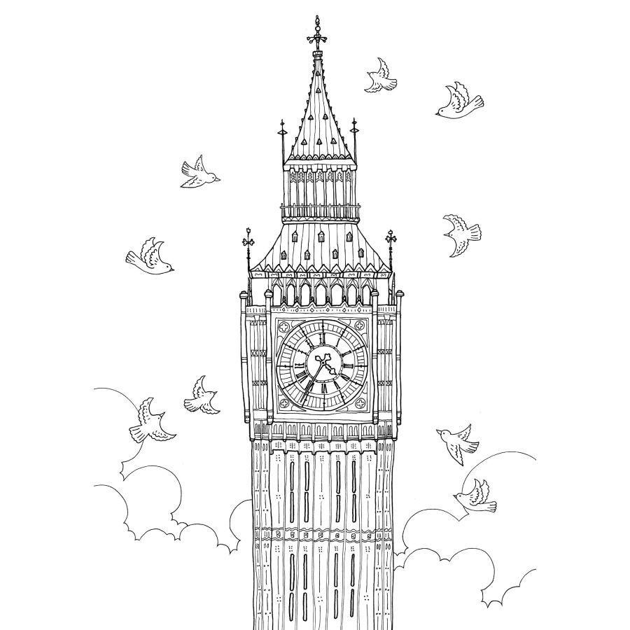 ̿̿̿(•̪ )72 páginas viaje de Londres libro para colorear para niños ...
