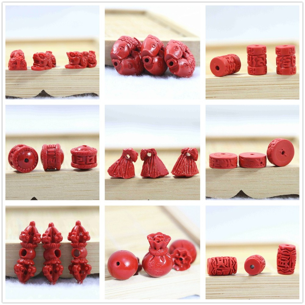 ≧HOT sintético cinabrio Rojo 15x25mm lindo niño bebé monje granos ...