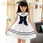 Korean Fashion Sailor Collar Girl Dresses Cute Bow Summer