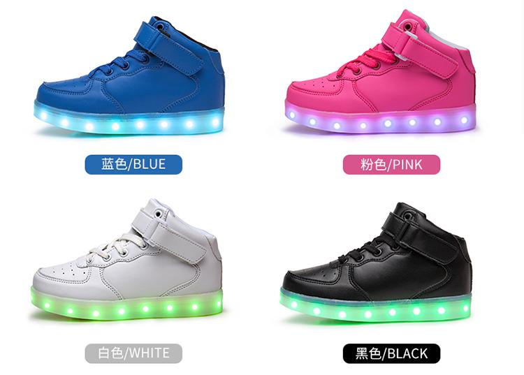 kids Led usb charging glowing Sneakers Children hook loop Fashion luminous shoes for girls boys men women skate shoes #25-46