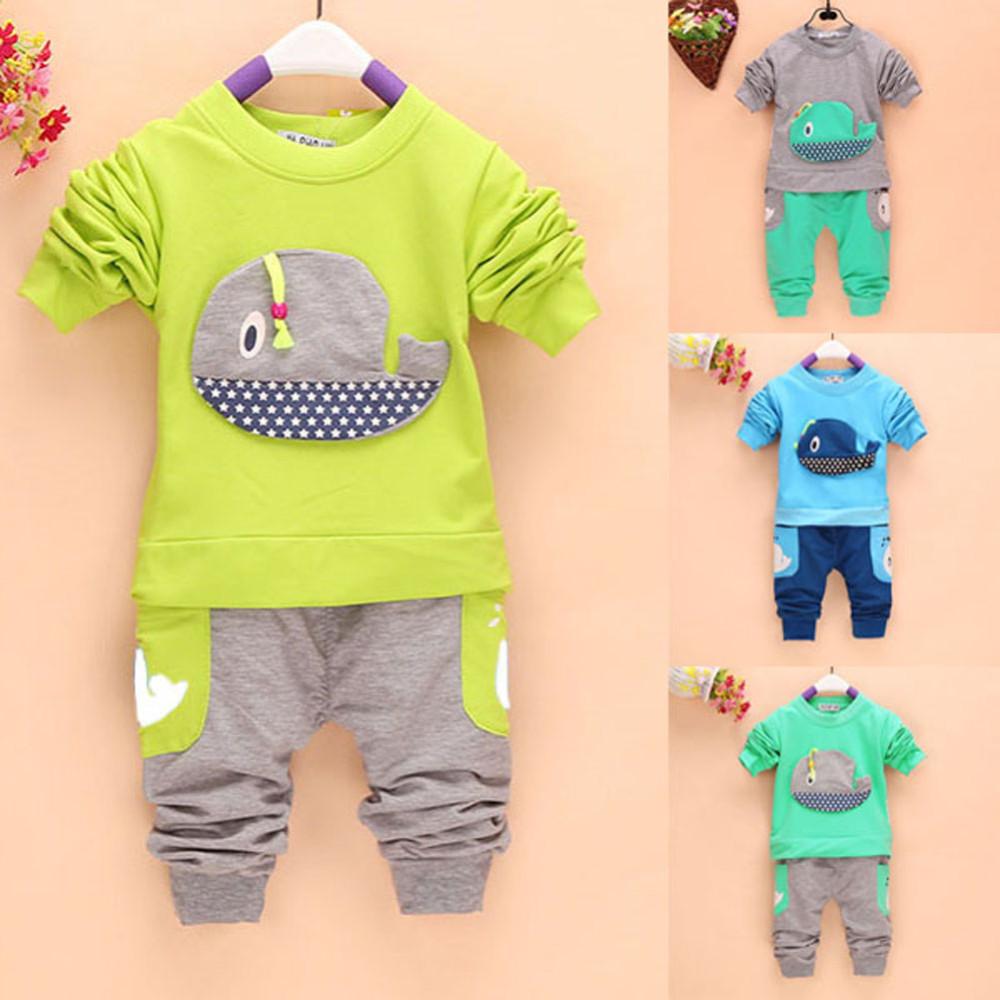 946c32741184 ⊱BOBORA 2pcs Baby Boys Girls Cartoon Whale Pattern Long Sleeve Tops ...
