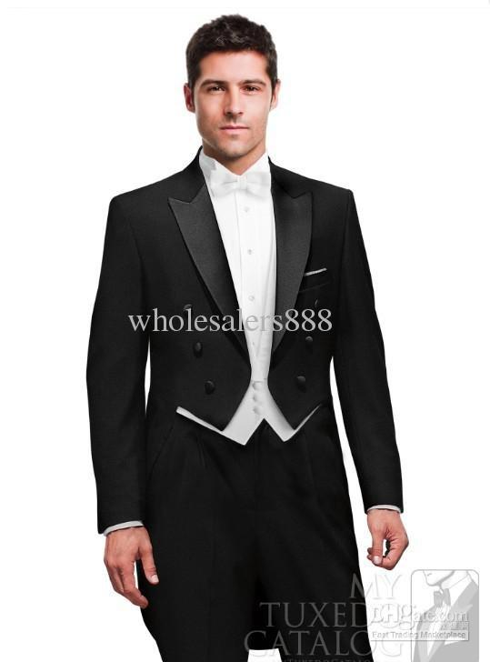 ✓Custom Design Black Groom Tuxedos Peak Lapel Tailcoat Best Men ...