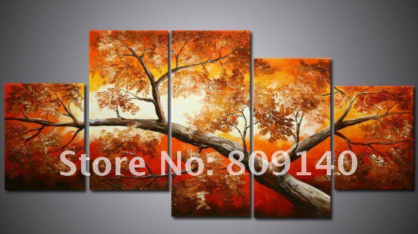 Oil Painting Canva Flourishing Tree Landscape Fortune High