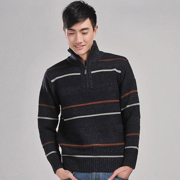 Striped Fashion Sweaters Turtleneck Pullovers Men Zipper