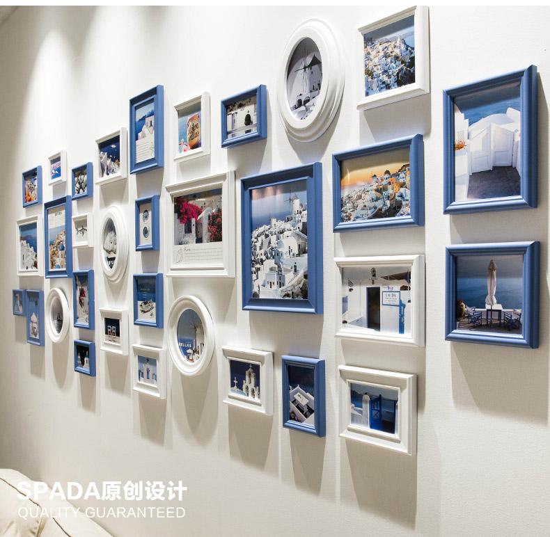 32 unids/set Negro Azul blanco foto Marcos, estilo mediterráneo ...
