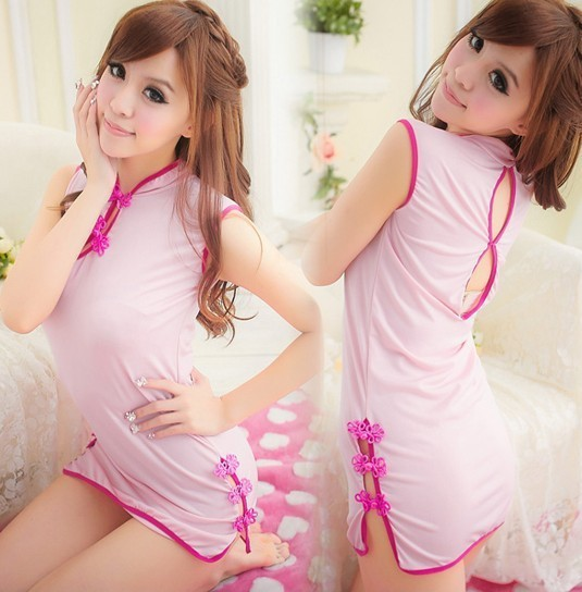 Free shipping!2013 new pink soft sexy Classic beauty cheongsam lingerie suits saexy sleepwear nightgown skirt