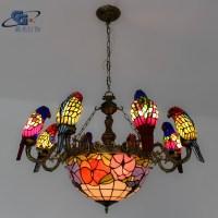 European lighting fixtures chandelier Tiffany 8 parrots ...