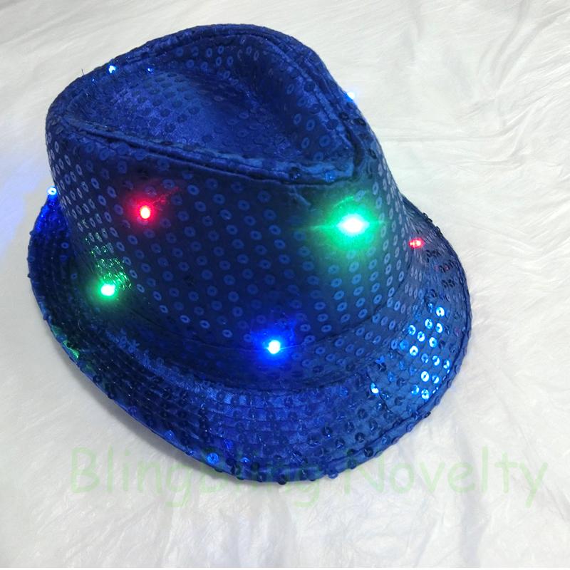 2016 Super Cool Unisex Hat Sequin Light Up Fedora Flashing