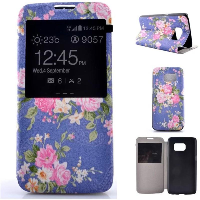Bolsa em Couro Flip Suporte Função caso Janela de Visualização Para Samsung  Galaxy S7 Capa Celular Capa Pintura flores Sacos de Telefone cc5941c731