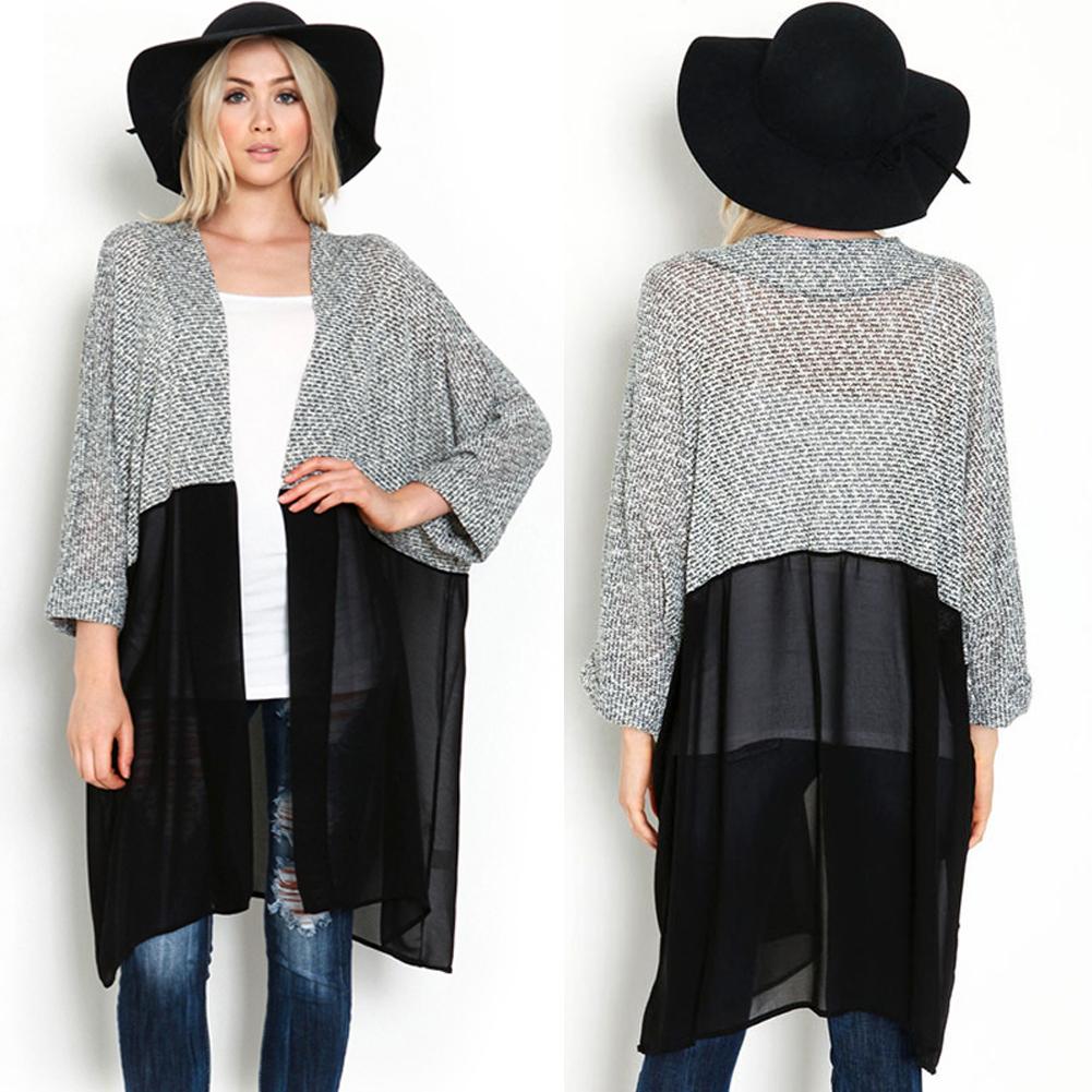 ᑎ‰Mujeres suéter largo de Rebeca Otoño Invierno sólido hecho punto ...