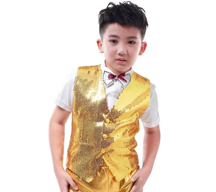 001d294a5e87c Nuevas llegadas moda casual niños etapa desgaste ropa niño fijó oro  lentejuelas delgado para niños hip-hop cantante DJ trajes