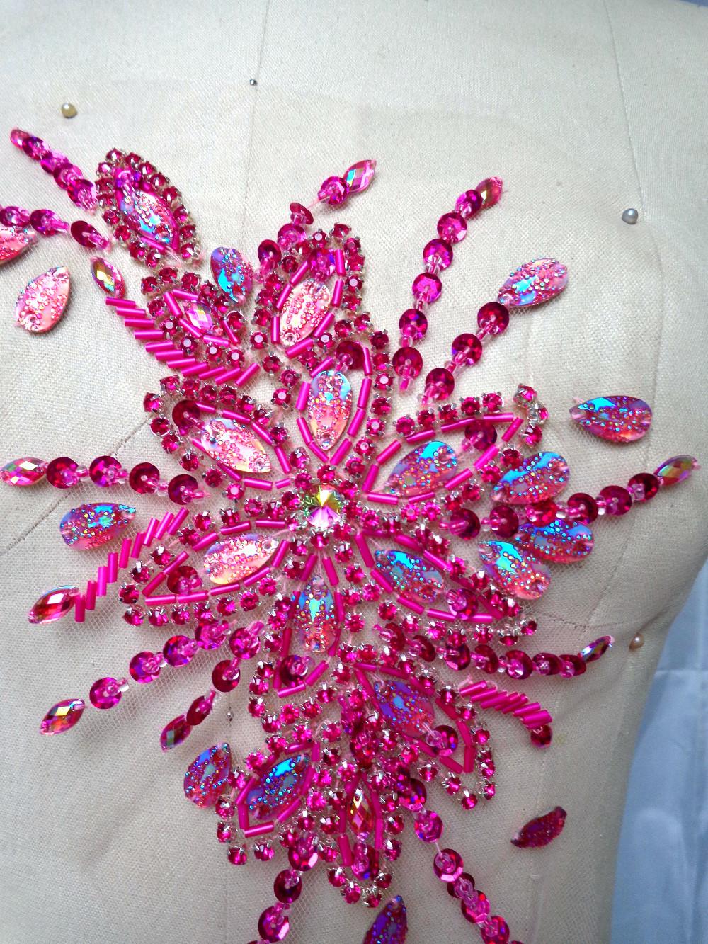 ヾ(^▽^)ノA10 hecho a mano rosa roja cose en los rhinestones de ...