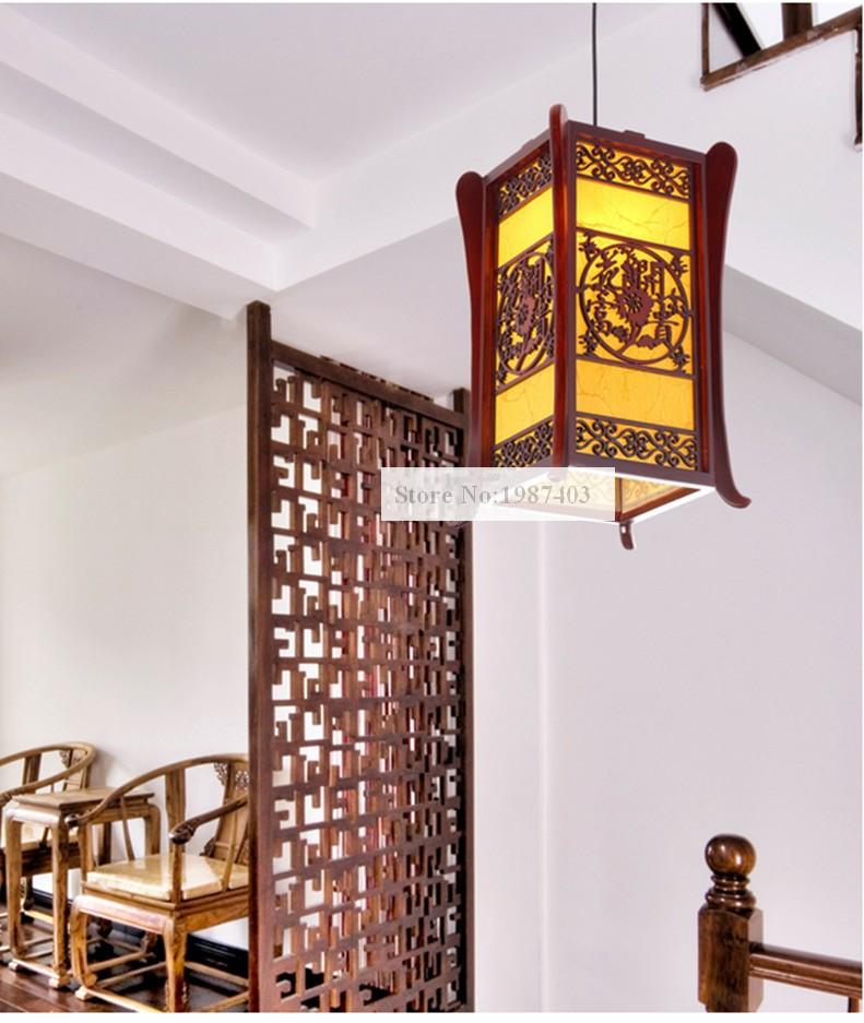 ᐊChino clásico café madera marco Lámparas colgantes tallado ...