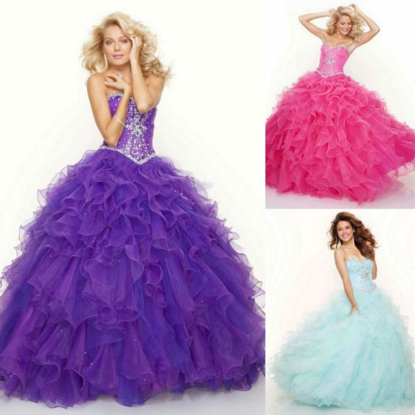 Hot Pink Sweetheart Organza Diamond Corset Ball Gowns Lace