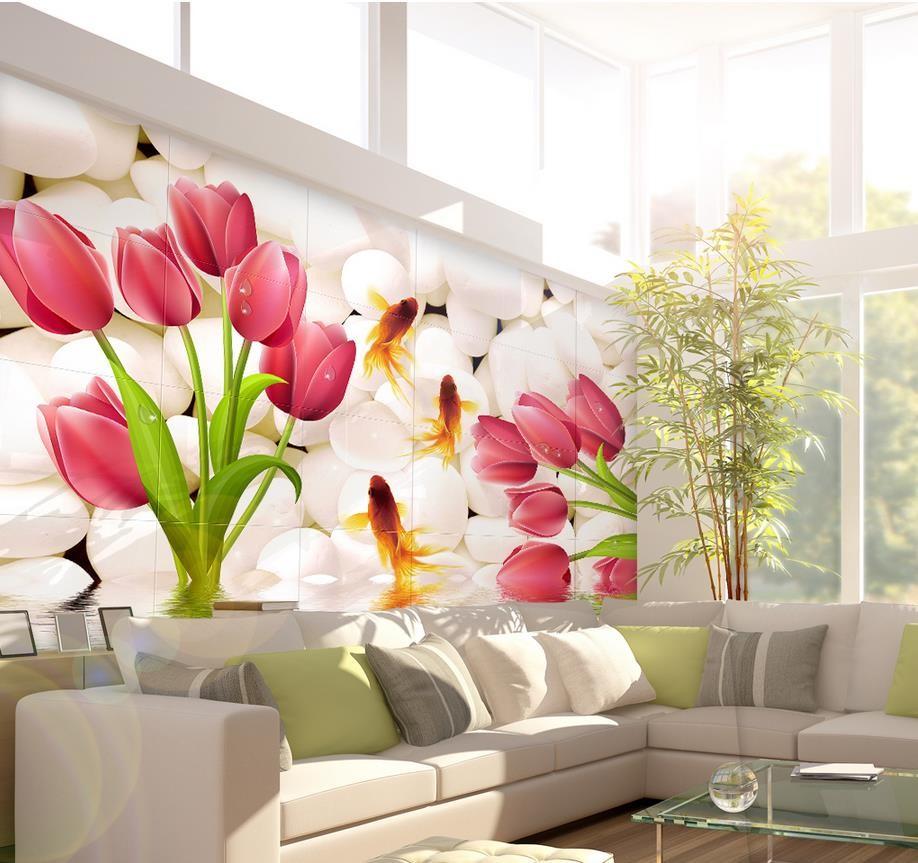 ⊹Decoración del hogar para la sala tulipanes 3D pared murales papel ...