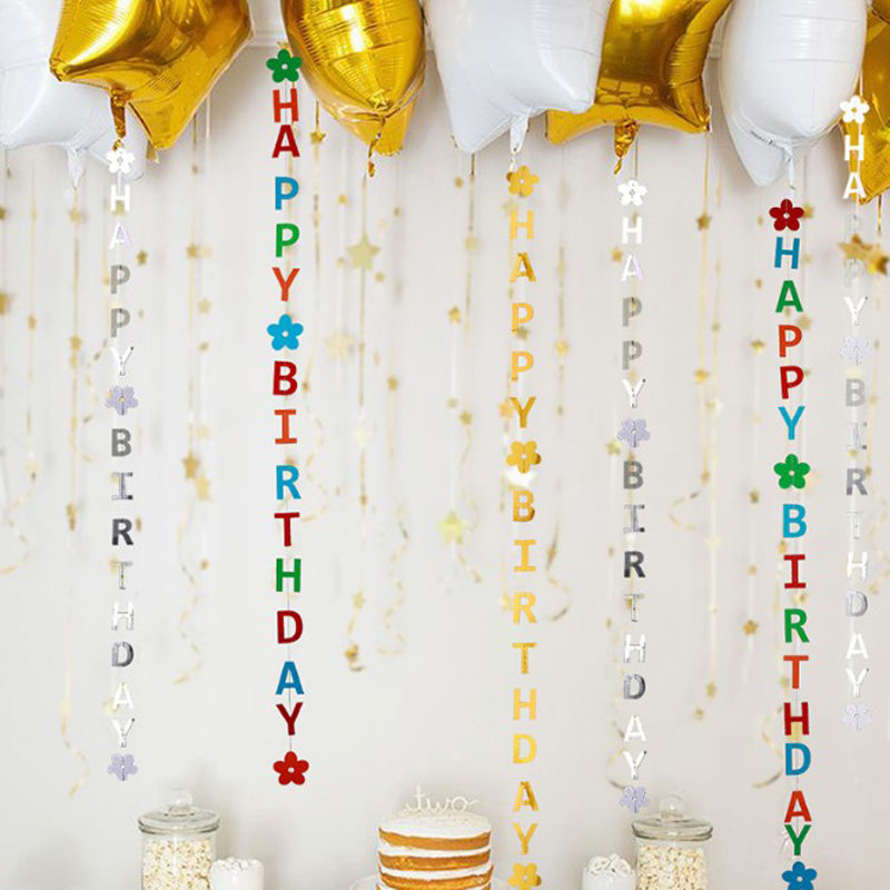1pcs Happy Birthday Bunting Garland Gold Letters Party Hanging Banner Decor