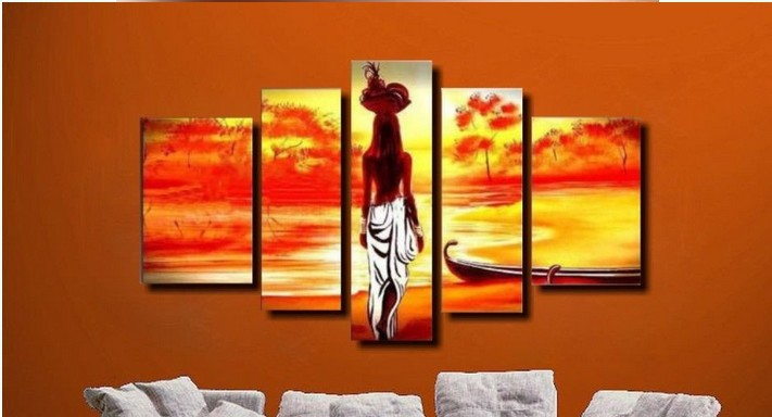 (NO FRAMED)100% Handmade Discount Abstract African Canvas