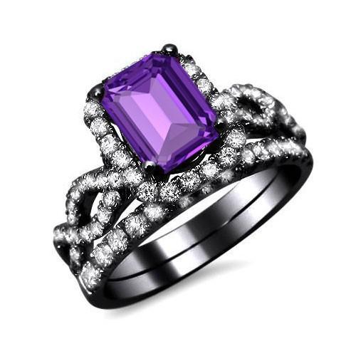 Luxury Emerald Cut Purple Cubic Zirconia Women's Black