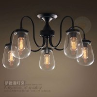vintage modern glass iron ceiling lamp chandelier flush