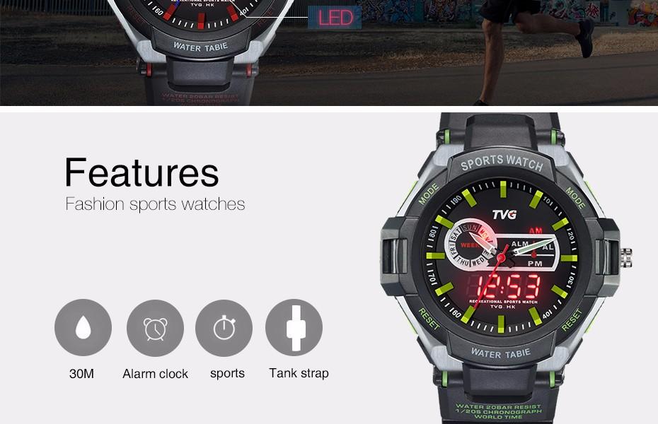e2b5fd832fa TVG Homens De Luxo Da Marca Relógio Do Esporte Digitais À Prova D ...
