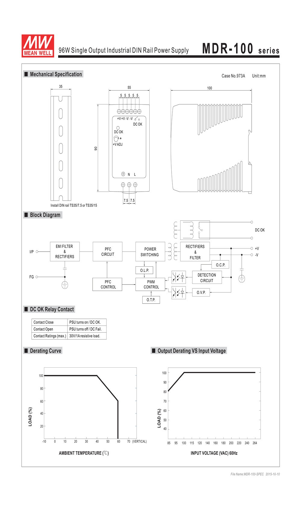Original Mean Well Mdr 100 48 96w 2a 48v Din Rail Mounted Wiring Diagram Honda Elysion Application
