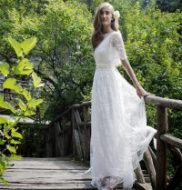 Bohemian Romantic Style Wedding Dresses 2016 Lace Bride ...