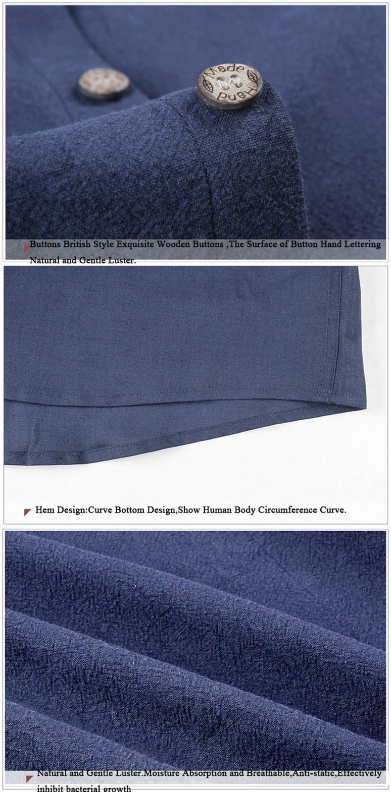 397412afc9c5 E-artiste Hommes Col montant Manches Longues Robe de Chemises Slim Fit  Casual Lin Coton Tops Pour Le Printemps Automne Plus La Taille 5XL C51