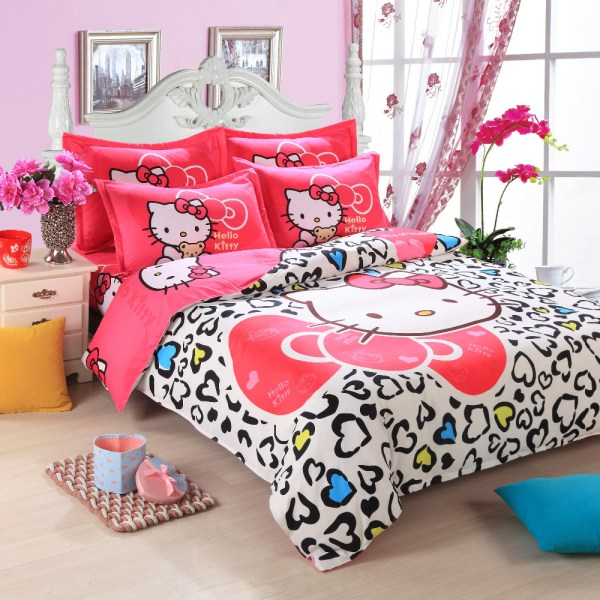 4pcs Twin Queen Size Silky Colorful Cartoon Bedding Set Girls Lovely Kitty Bed Linen