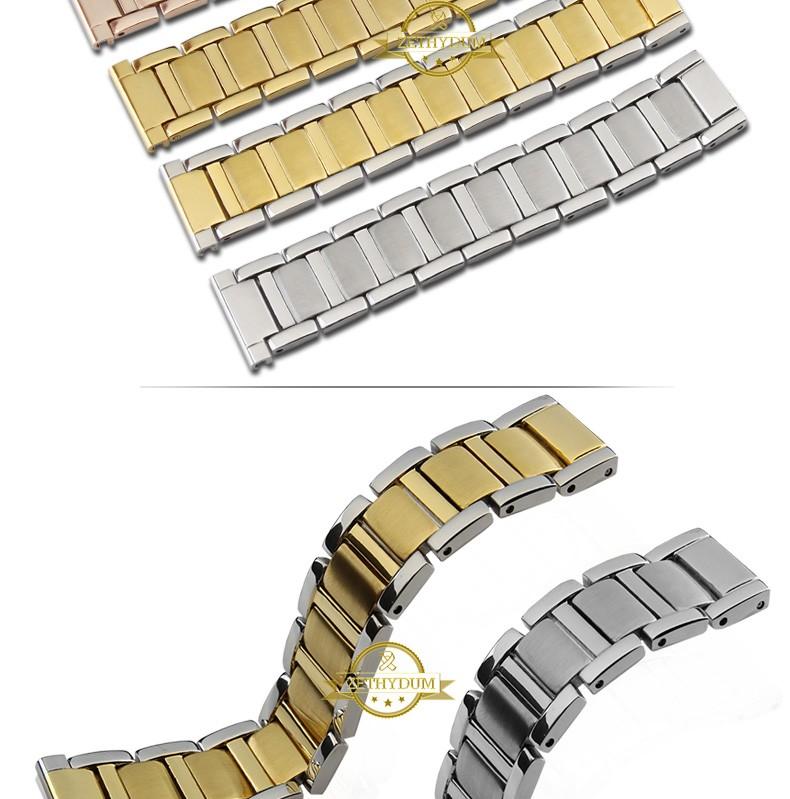 1322fa889604 Acero inoxidable pulsera de metal sólido 14 MM 16mm reloj pulsera Correa  banda de plata oro rosa mariposa corchete