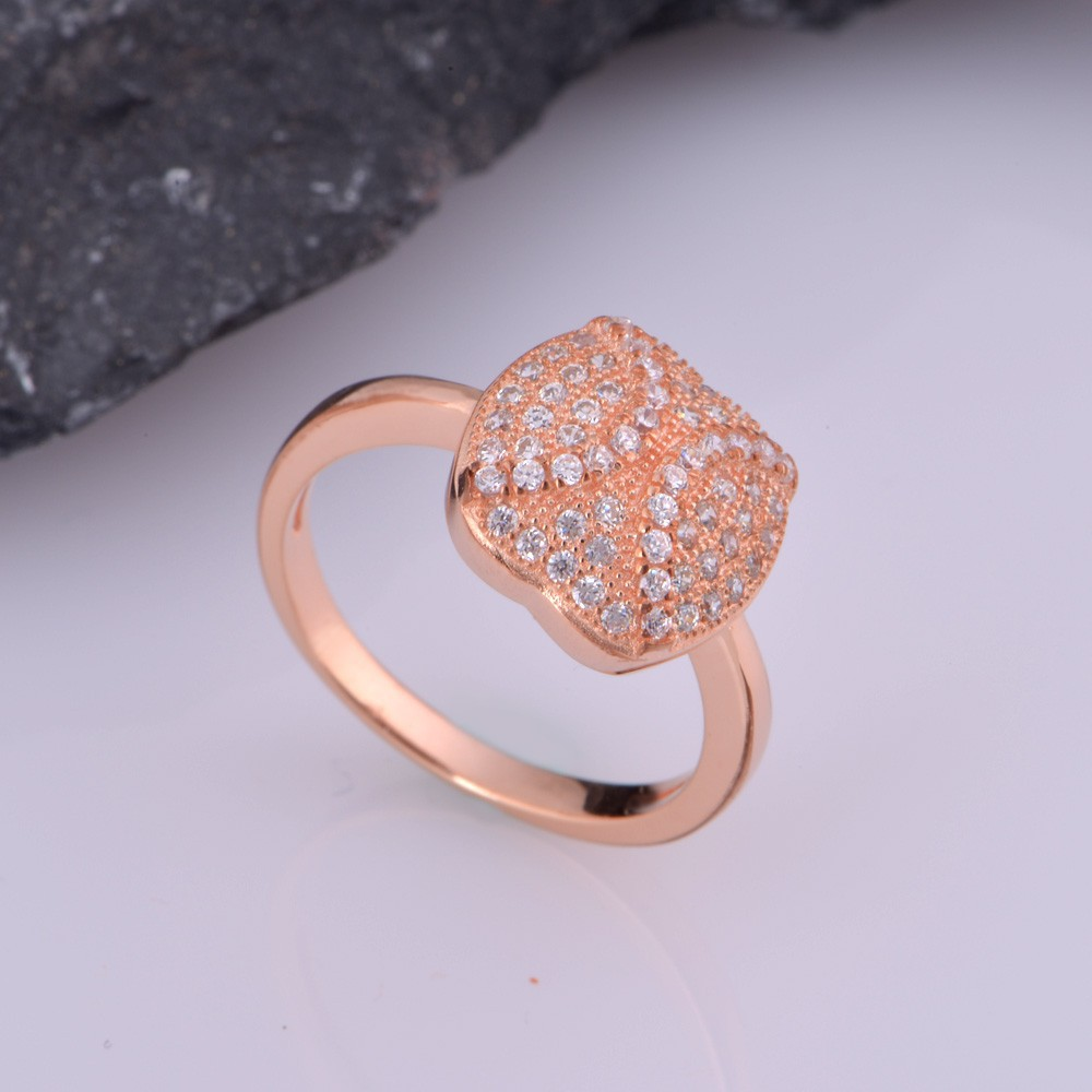 ①Vintage Round Shape Inlay Symmetry Zircon Rose Gold & White Gold ...